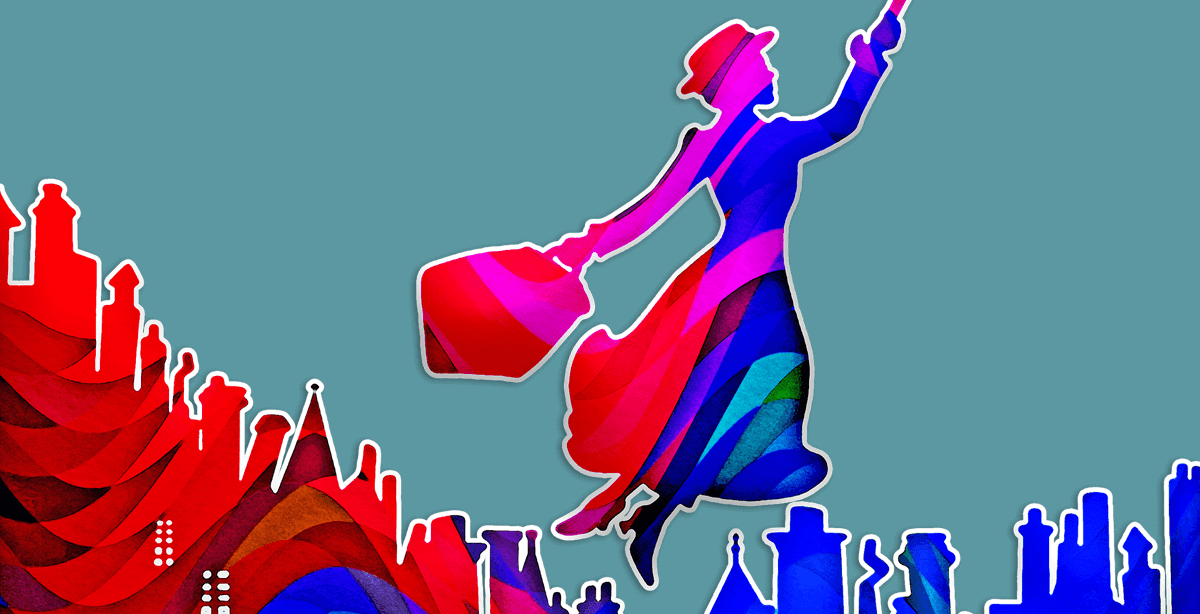 Mary Poppins soars majestically through the air.