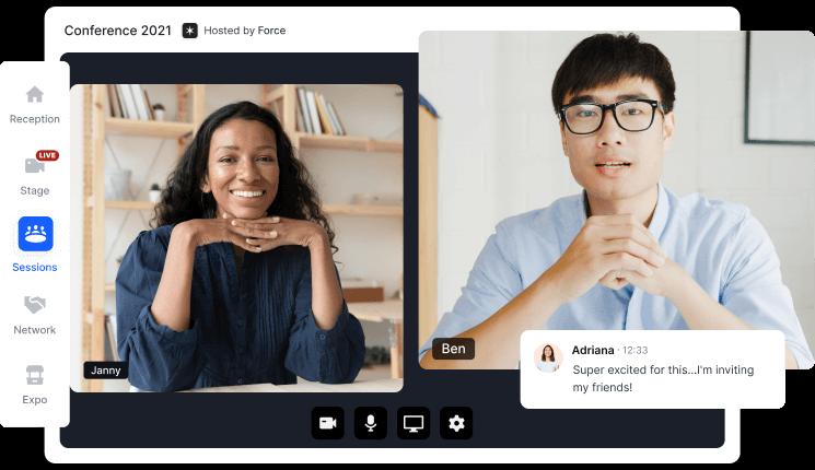 Screenshot of the Hopin Virtual Event Platform