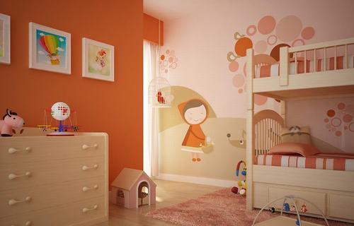 Mẫu phòng ngủ bé trai với màu cam làm chủ đạo kết hợp giường đôi độc đáo