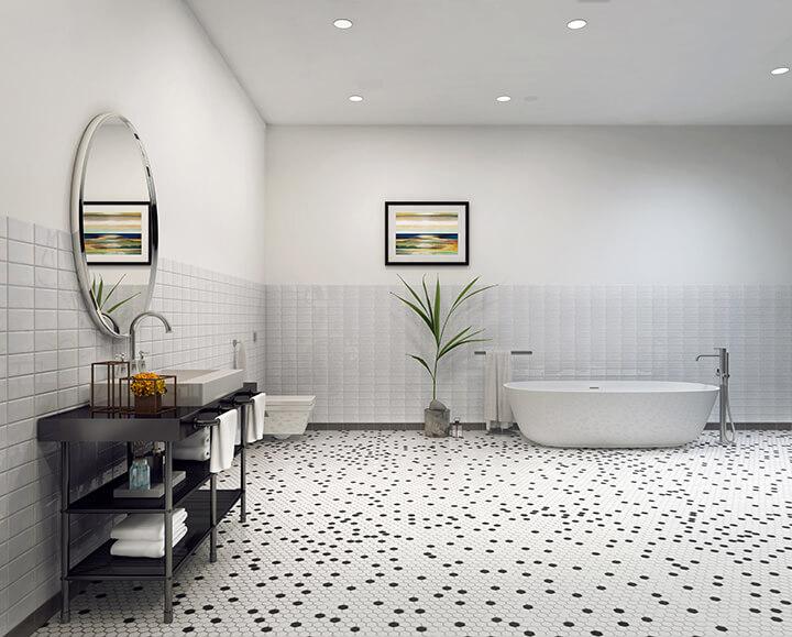Retro black and white hexagon tile bathroom floor