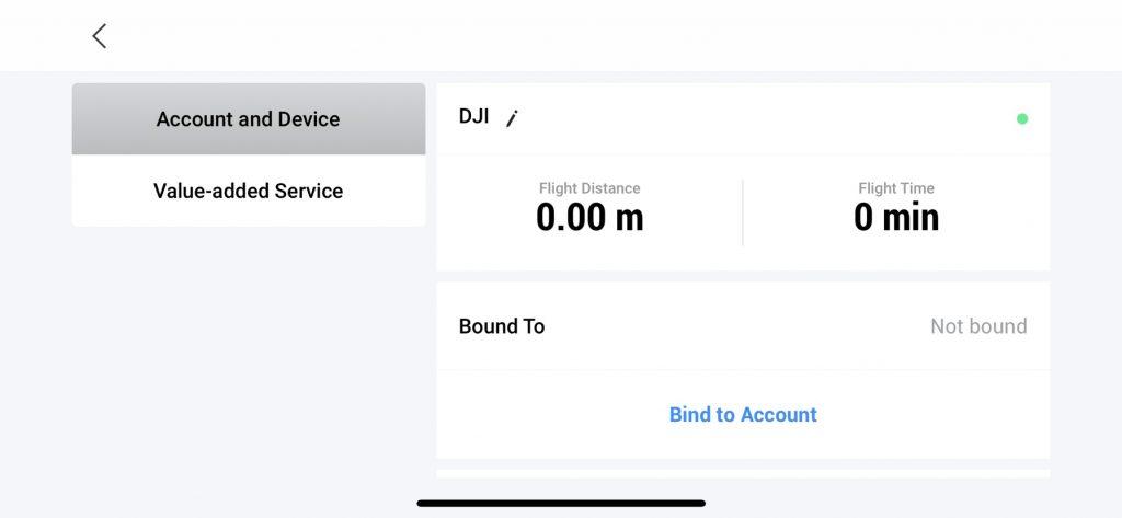 DJI Care Obnovit připojení k účtu
