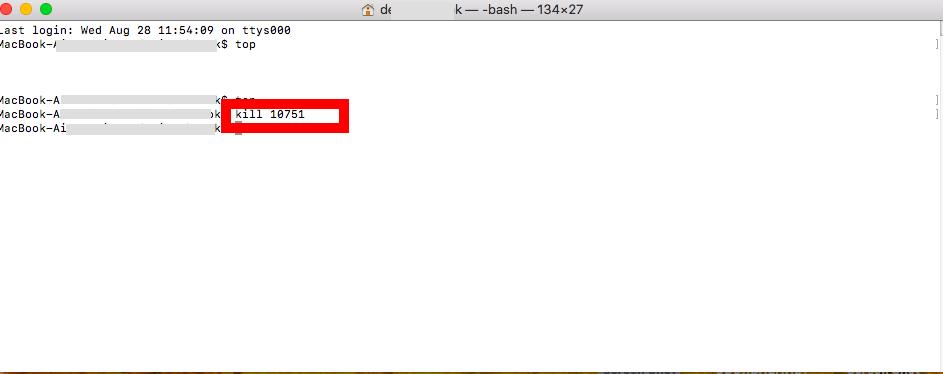 """Type the """"kill XXX"""" command and press """"Return"""" - Mac"""