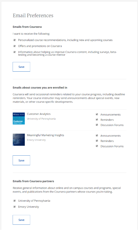 example of a preference center from Coursera