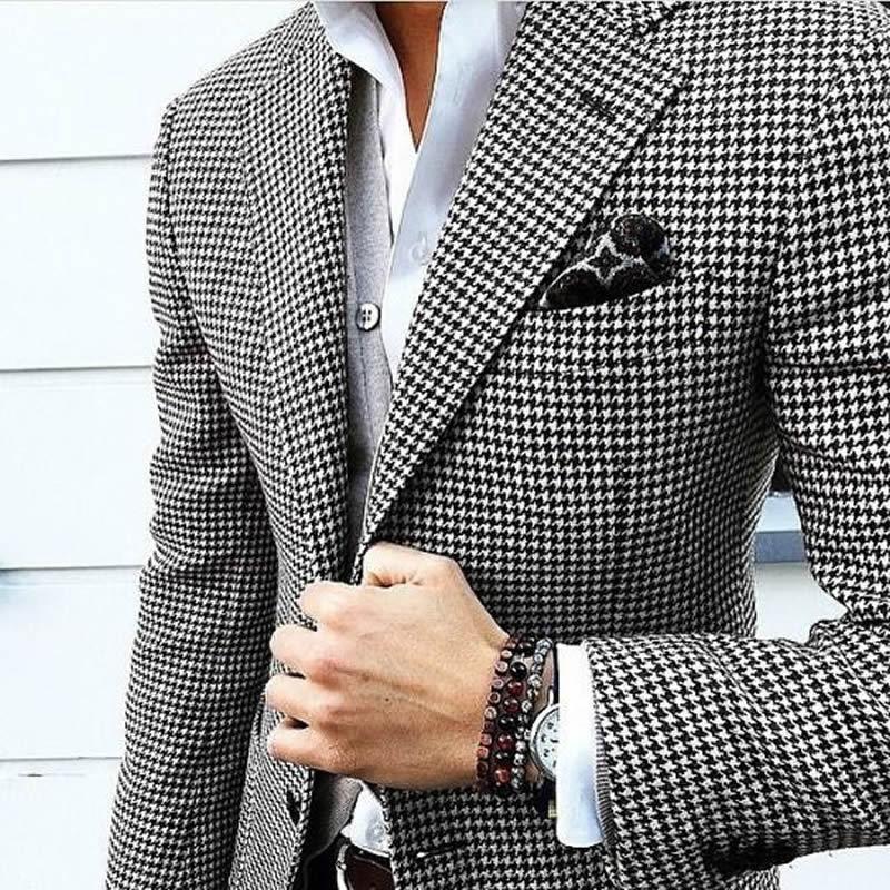 Description: https://ae01.alicdn.com/kf/HTB182G5JpXXXXXlaXXXq6xXFXXX4/Mens-Checkered-Suit-Houndstooth-Custom-Made-Men-Dress-Suits-Tailored-Casual-Men-Suits-Duotone-Weave-Hounds.jpg