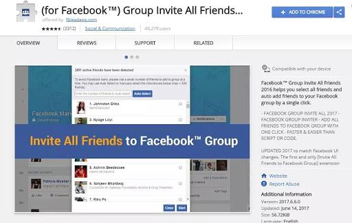 invite facebook