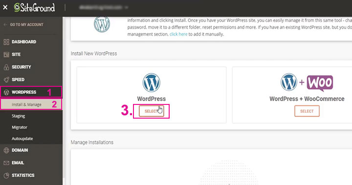 How install WordPress on Siteground hosting WordPress select