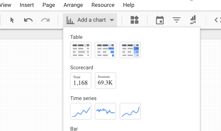 adding a chart in google data studio.