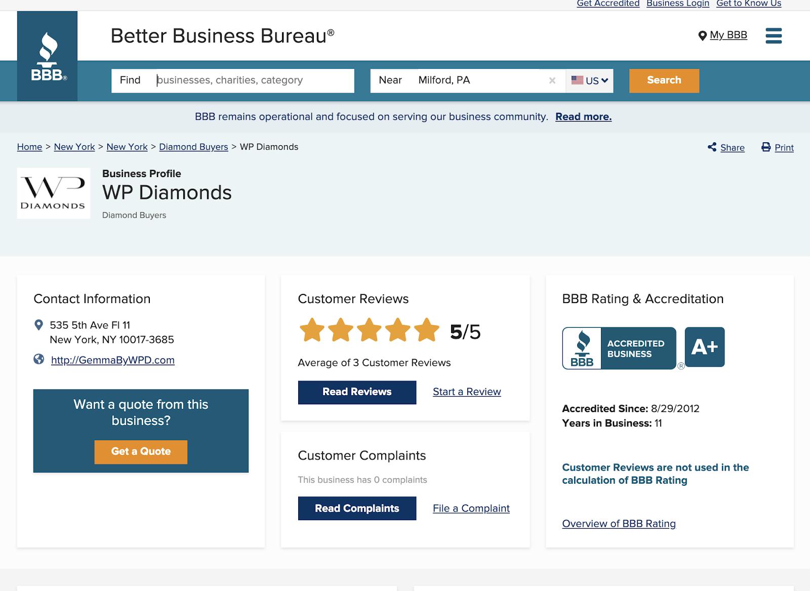 WP Diamonds review bbb