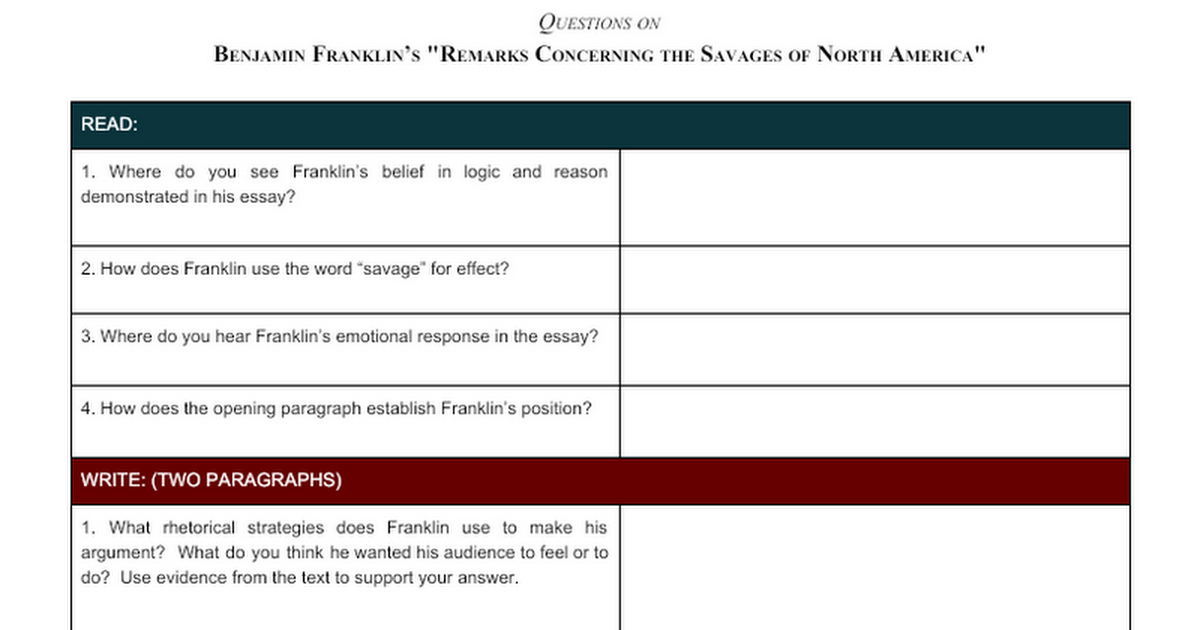 questions benjamin franklin remarks concerning the savages of  questions benjamin franklin remarks concerning the savages of north america google docs