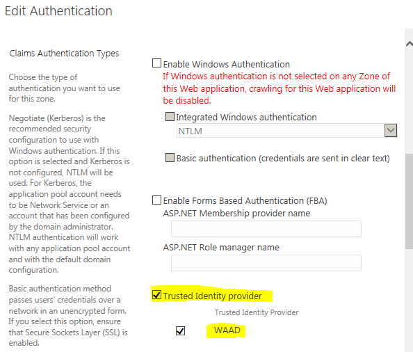 Edit Authentication Settings