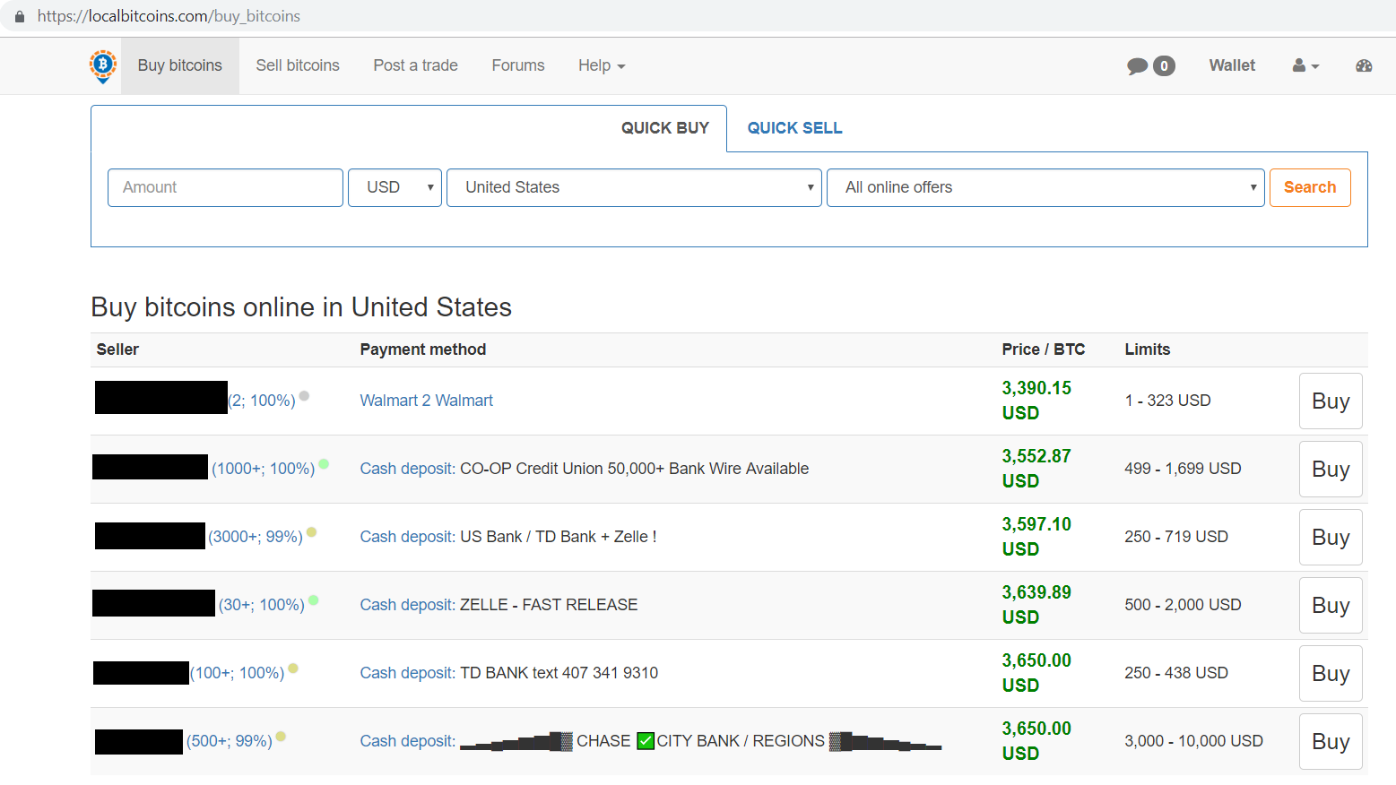 Buy bitcoins online in United States results screen.