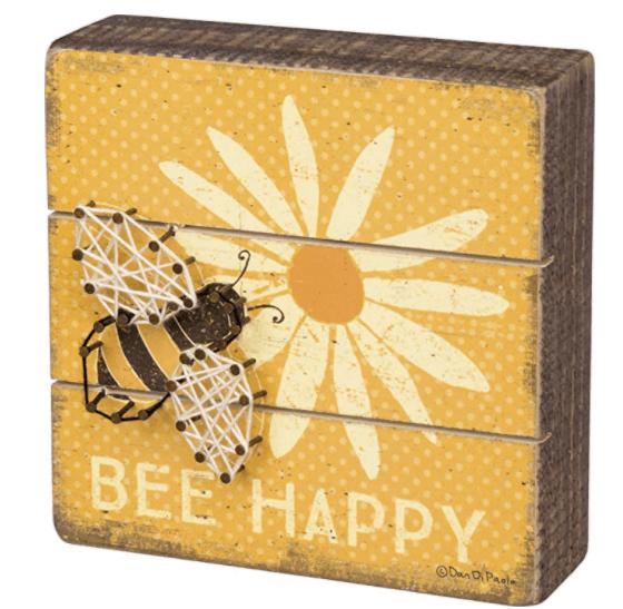 Wooden sign Bee happy