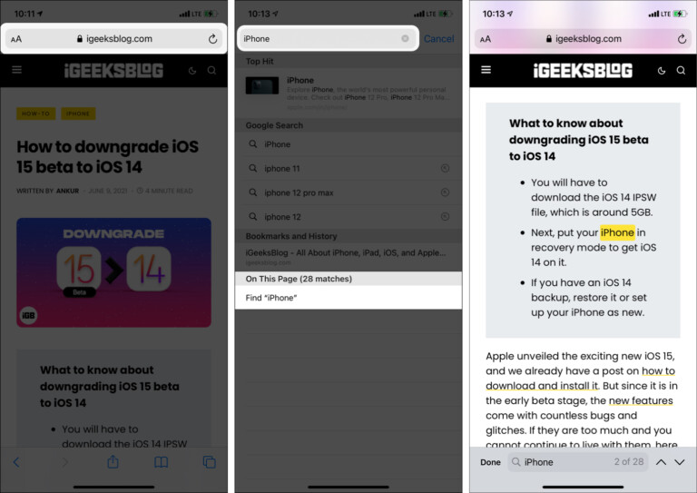 How to find text in iPhone Safari
