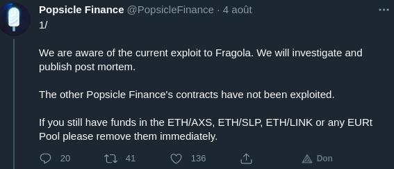 Publication Twitter de Popsicle Finance sur l'attaque en cours