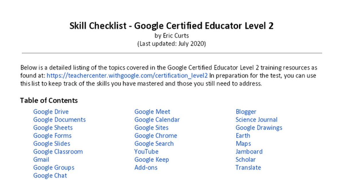 Skill Checklist Google Certified Educator Level 2 Google Docs