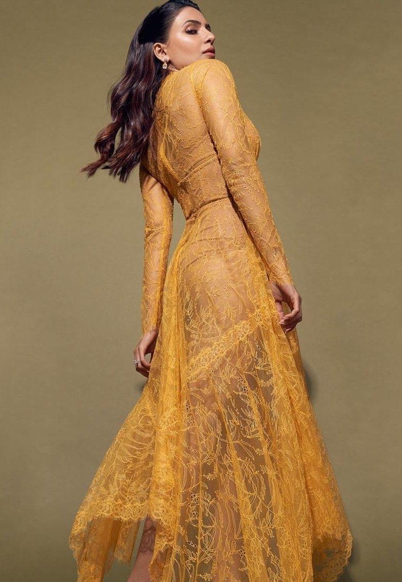 Samantha Akkineni in see-through sexy yellow lace dress at Zine ...