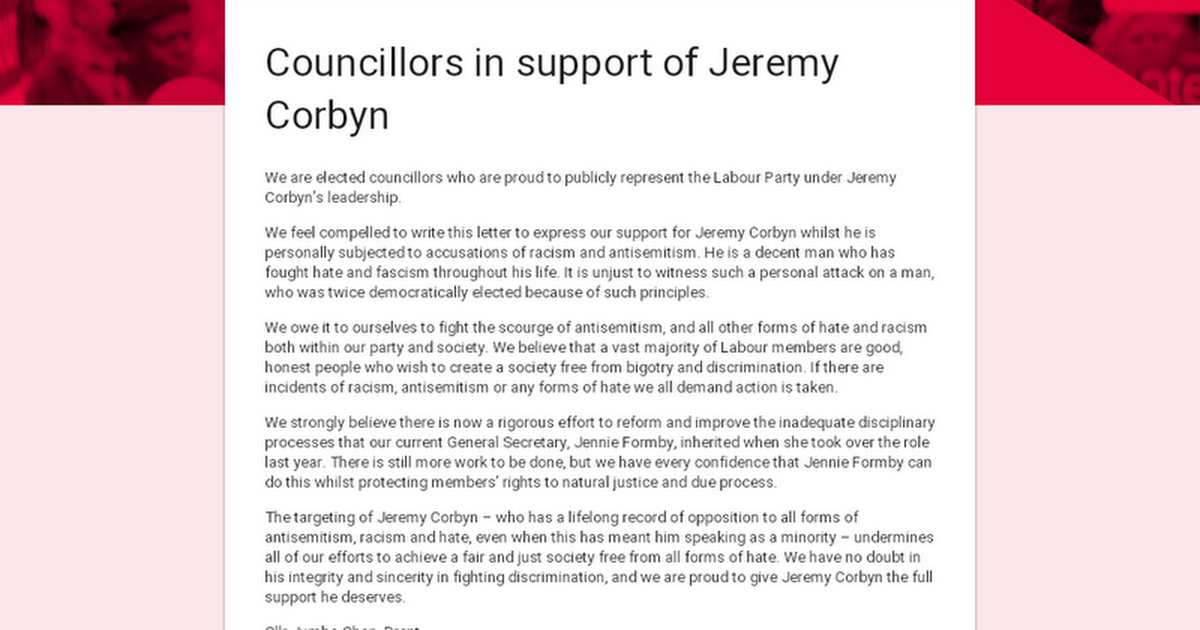 Councillors in support of Jeremy Corbyn