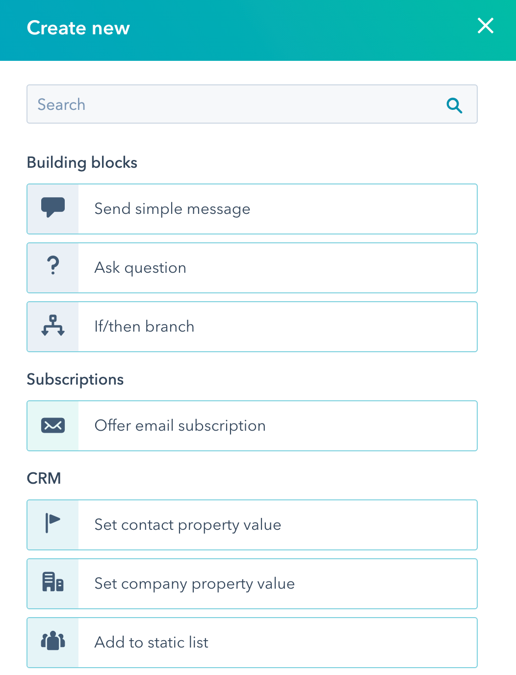 Building blocks of HubSpot chatflows