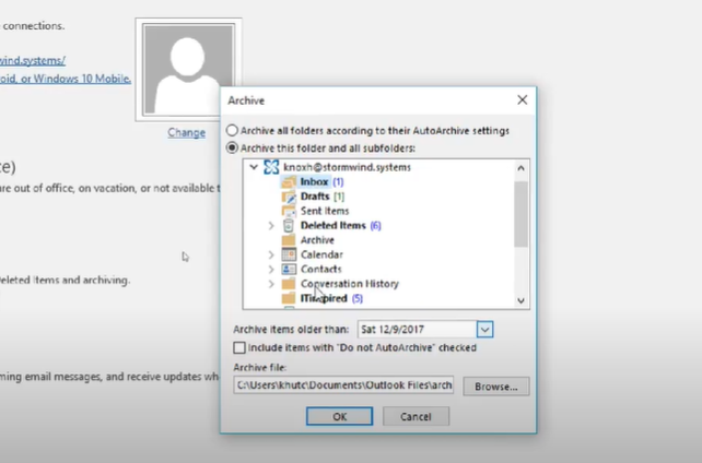 """Select """"Archive this folder and all subfolders"""" option. Click on the folders to be archived."""