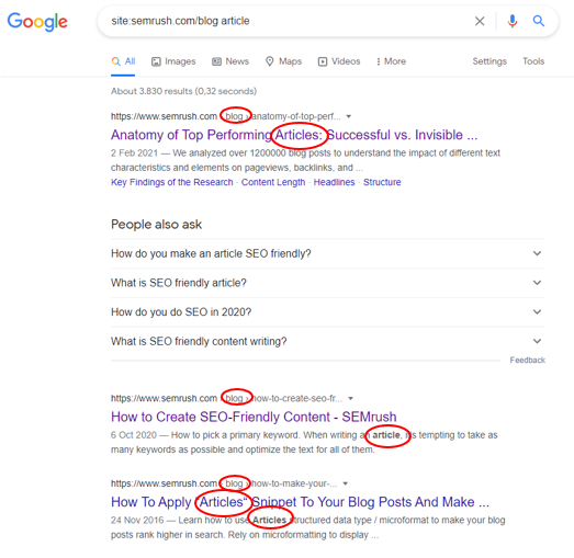 site search on google example