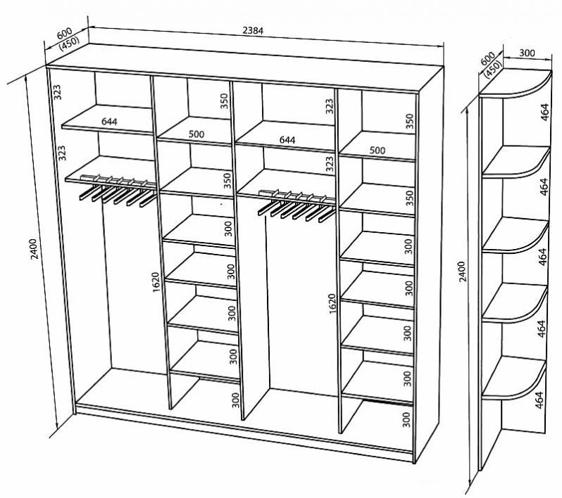 Пример наполнения шкафа-купе для прихожей