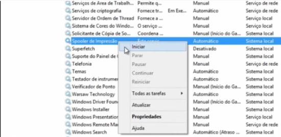 """7) Clique com o botão direito do mouse sobre essa opção e selecione """"Iniciar"""""""