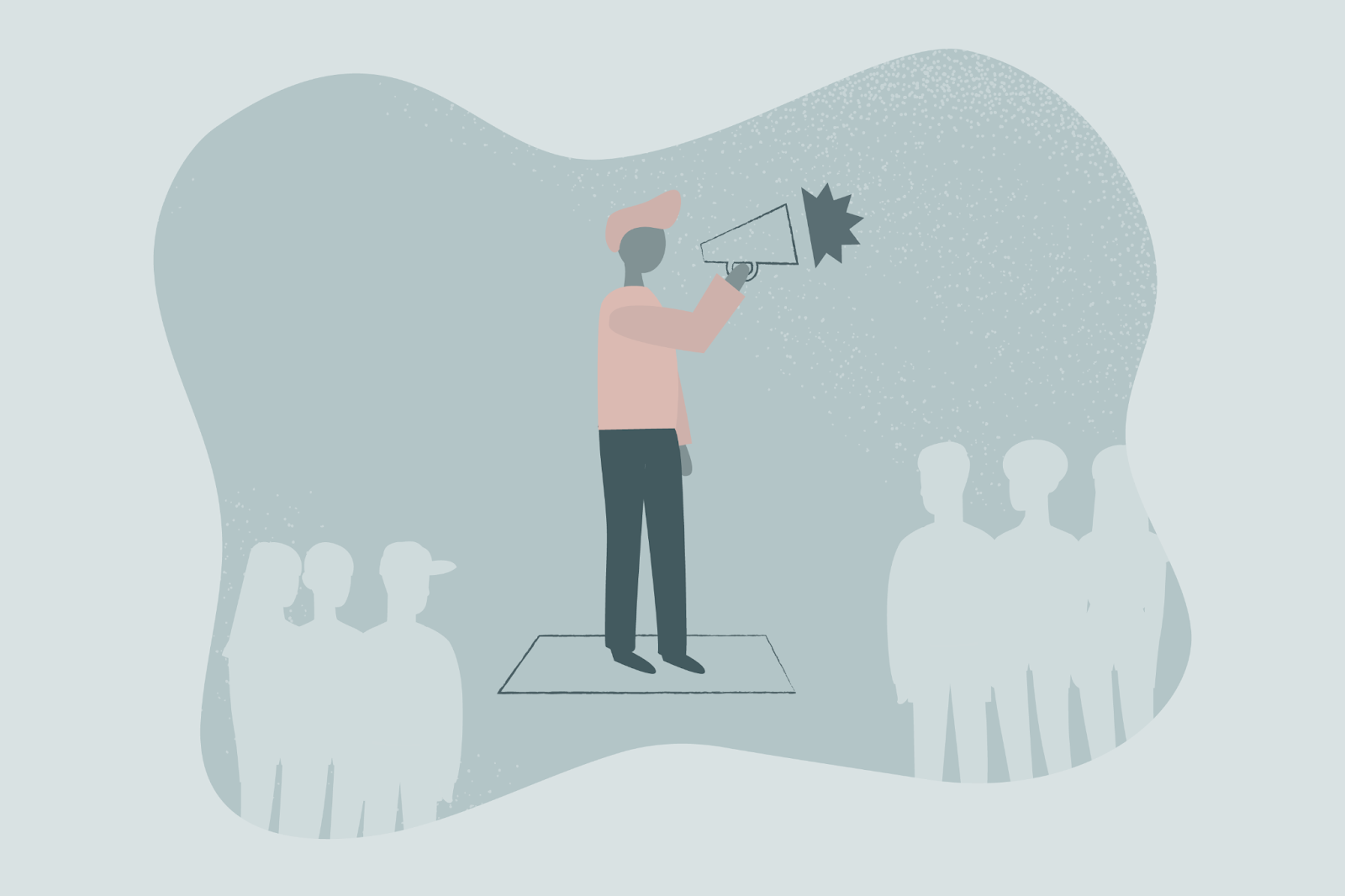 illustration of person talking through bullhorn to crowd