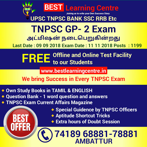 BEST Learning Center for TNPSC BANK SSC POLICE RRB