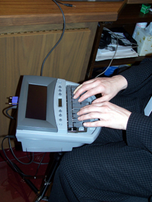 Stenography machine in use