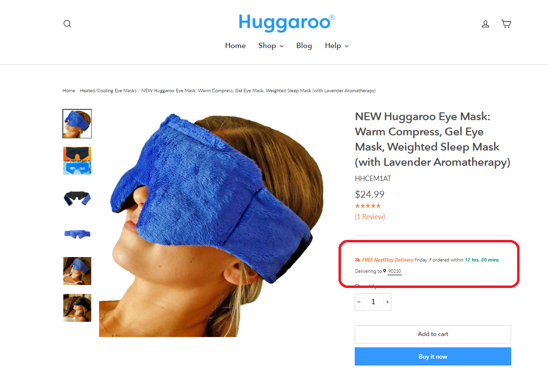 Huggaroo fast shipping example on website product page