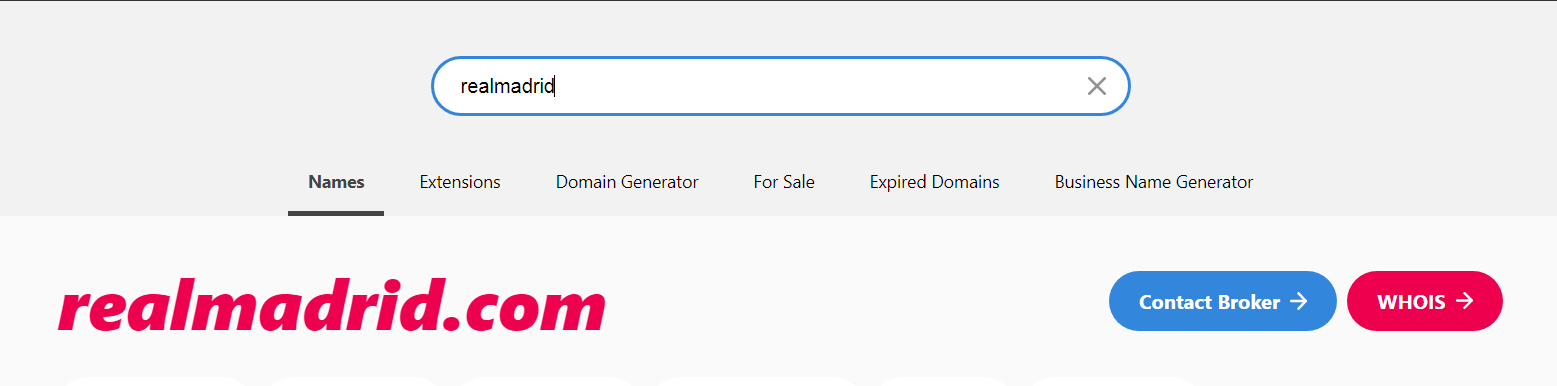 Intant domain search