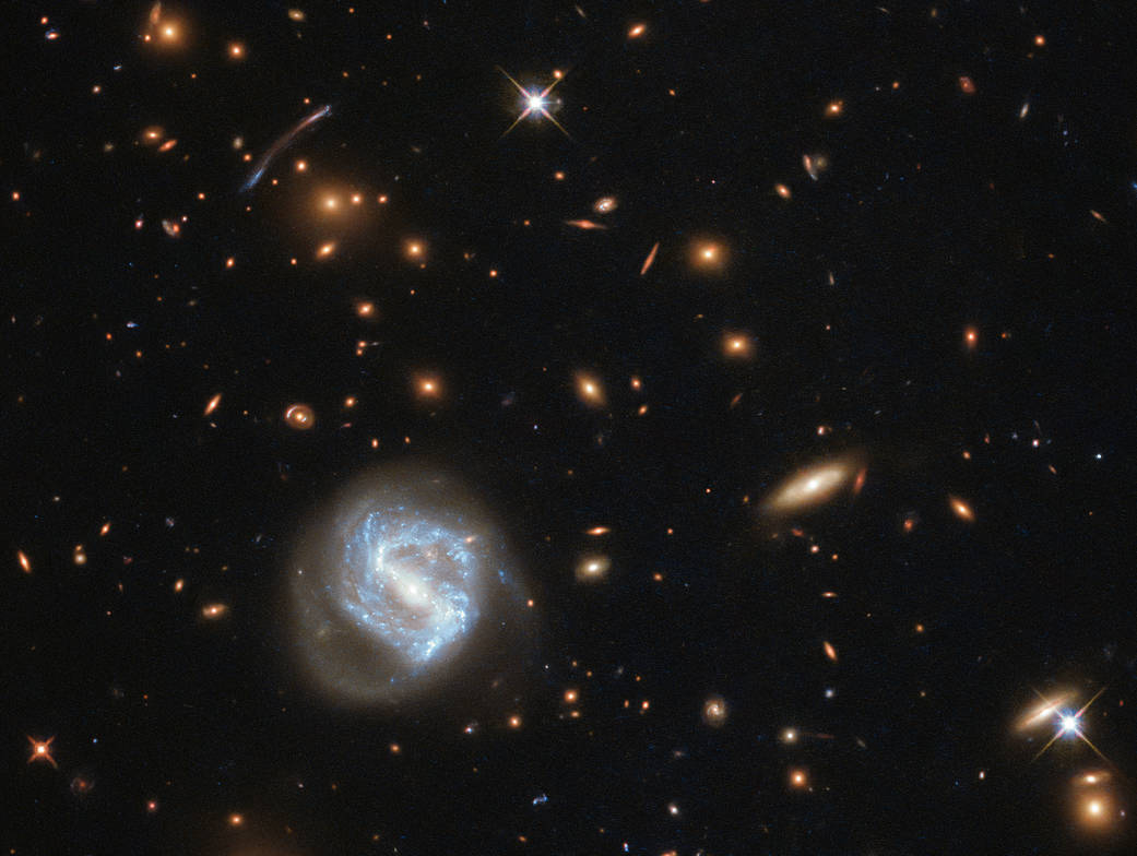 image from hubble telescope showing a variety of far away galaxies in our solar system