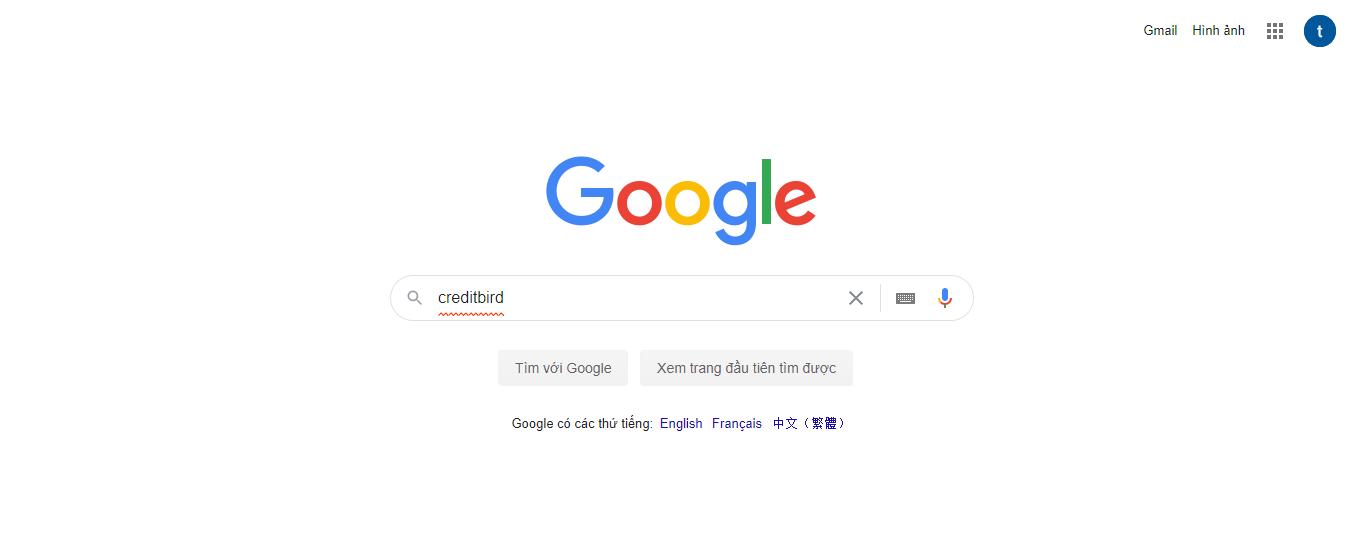 tìm kiếm creditbird trên google