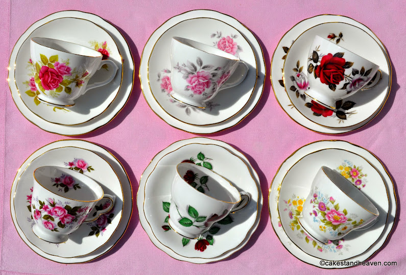 pretty roses eclectic vintage teacups set of six