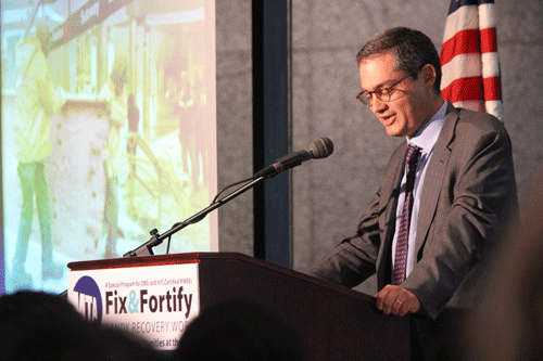 amie Rubin, Director of the Governor's Office of Storm Recovery, speaks at the MTA's Fix and Fortify event
