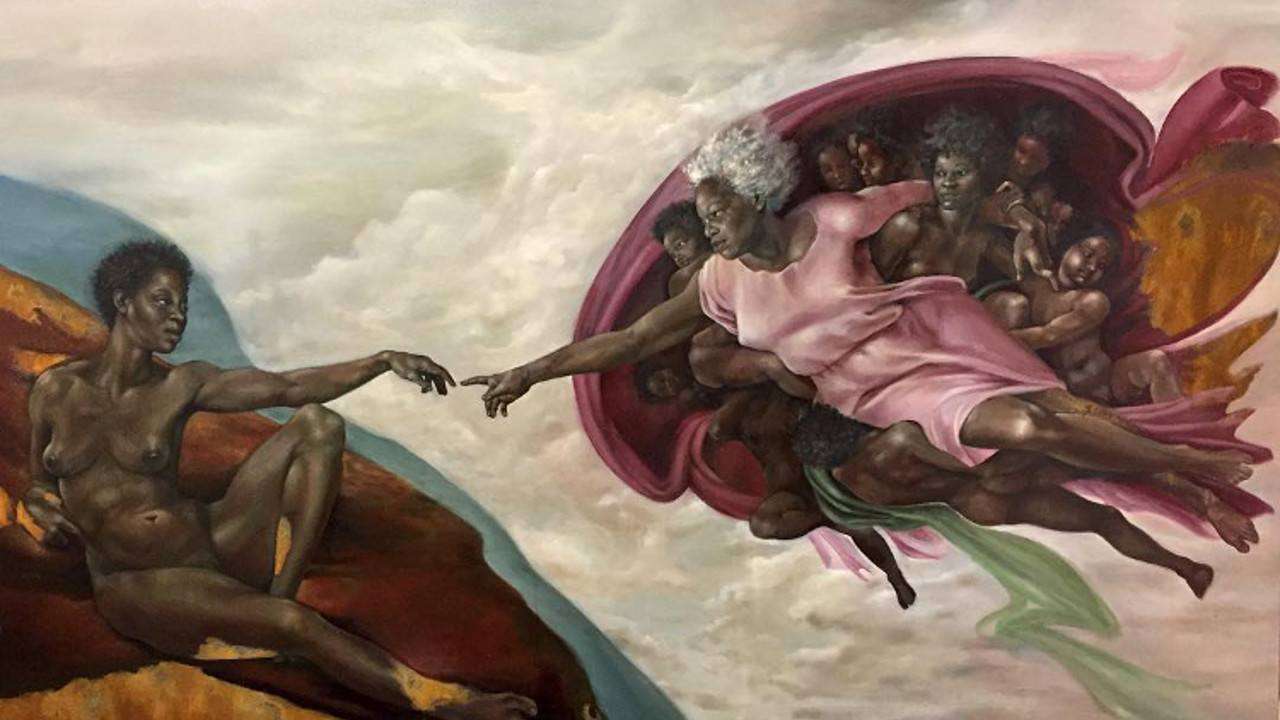 """Harmonia Rosales, releitura de """"A Criação de Adão"""", de Michelangelo. Foto: reprodução"""