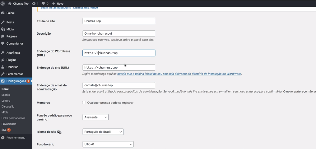 Configuração da opção geral no wordpress