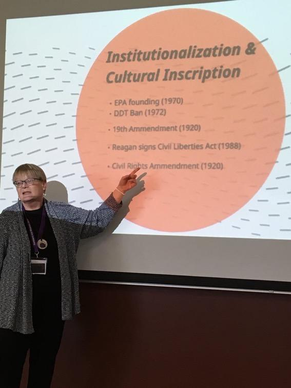 Photo shows Nan at the 2017 Feminisms and Rhetorics Conference standing in front of a projection of her Rhetorical Model of Social Change. The projection shows an example of the third stage of social change, Institutionalization/Cultural Inscription.