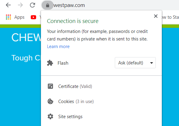 Screenshot of West Paw's website telling the visitor that their connection and website is secure
