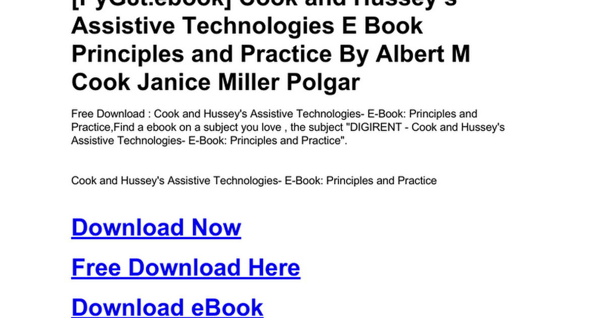 Cook And Hussey S Assistive Technologies E Book Principles And