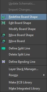 Changing Board Sizes in Altium  screenshot of the Design pulldown menu