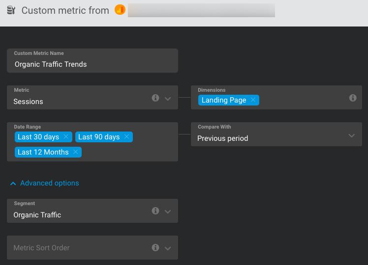set up organic traffic trends custom metric in databox