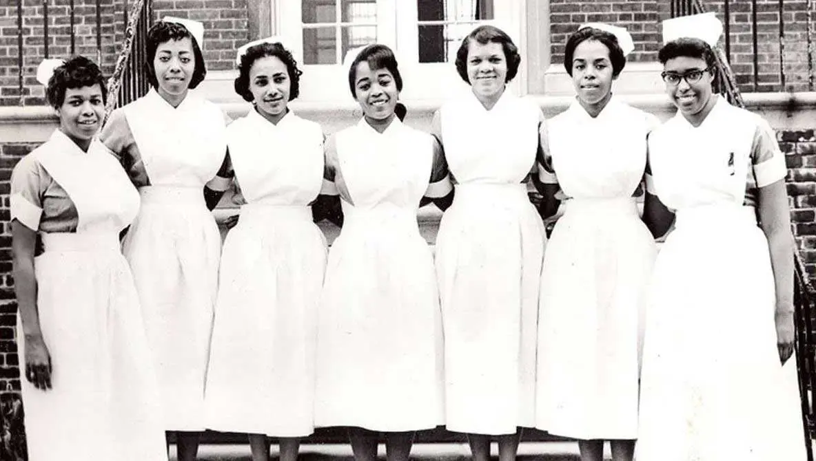 Seven nurses standing in ancient times