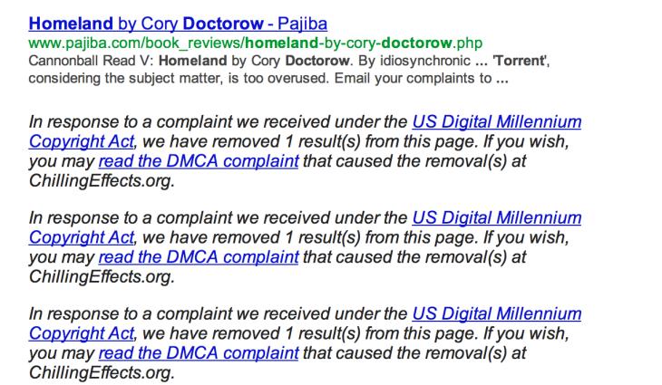DMCA пример поисковой выдачи Google