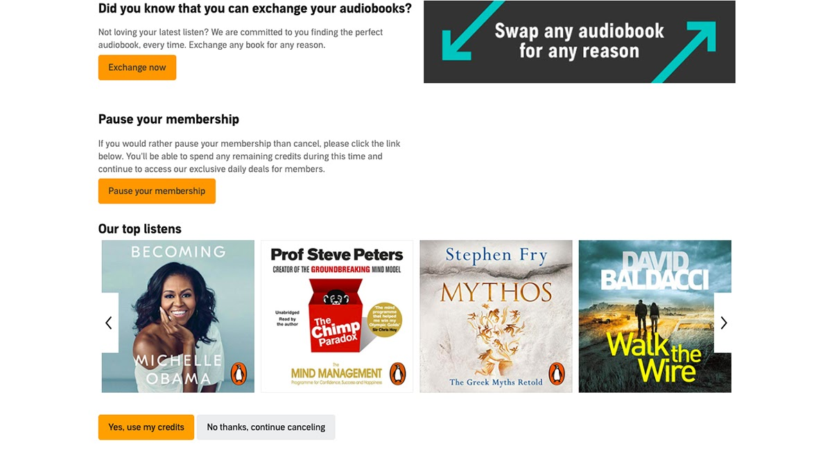 Audible Cancel Page
