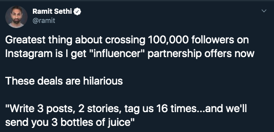 screenshot of tweet from Ramit about instagram influencer deals