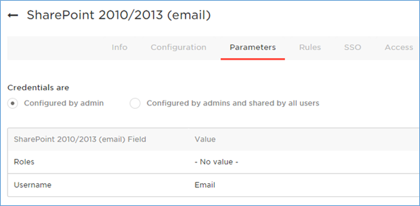 Set OneLogin parameters