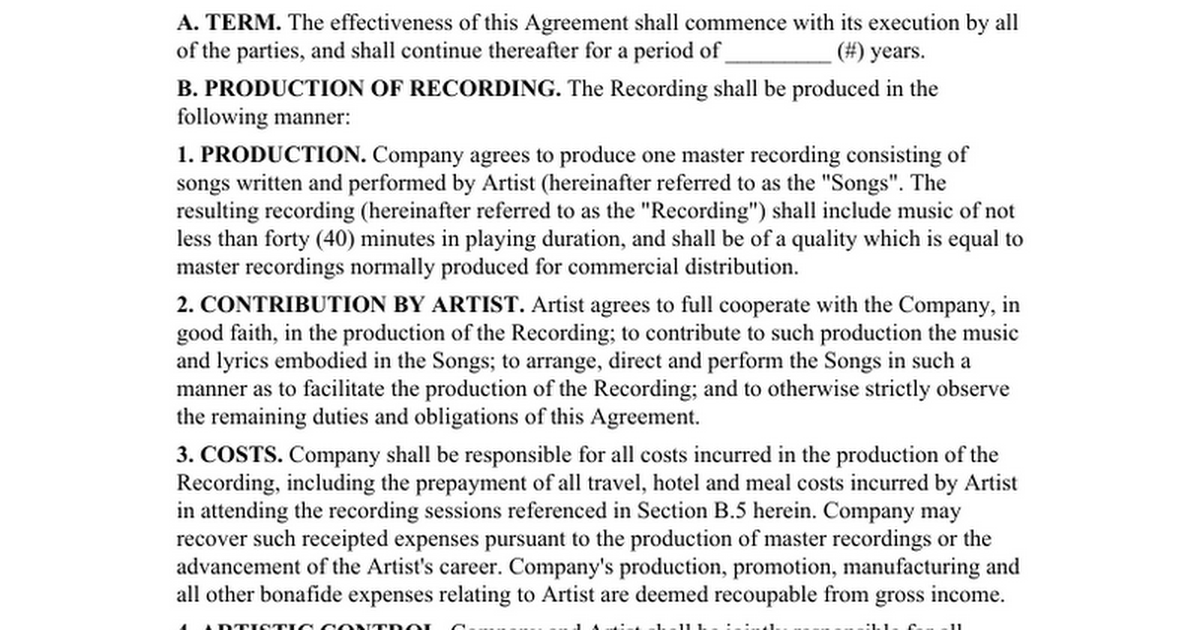 Record Label Contract Samplertf Google Docs - Talent management contract template