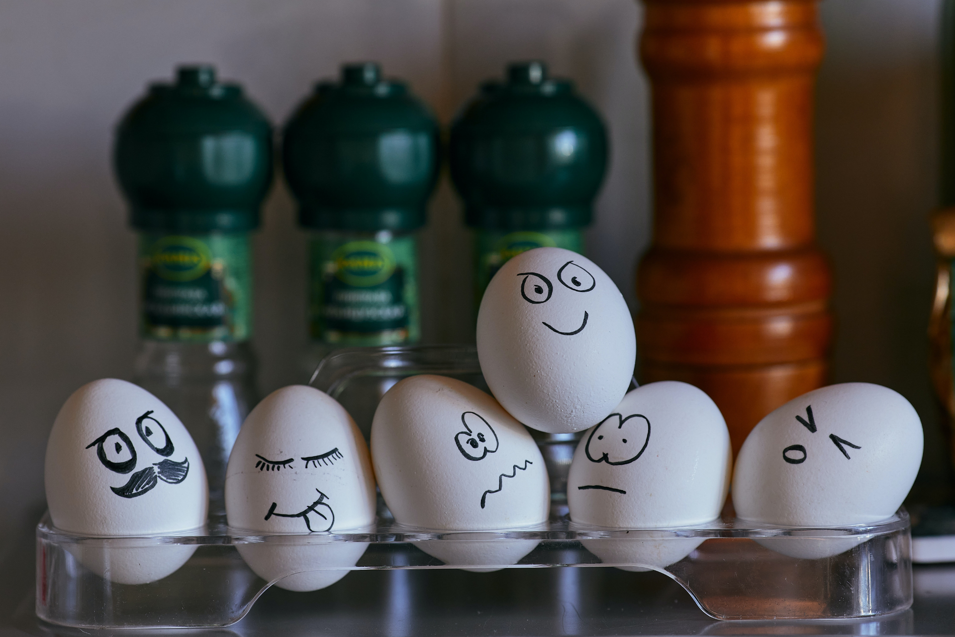 A mix of emotions represented on eggs.