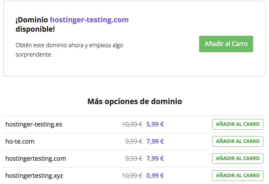 Resultados de búsqueda de disponibilidad de nombres de dominio